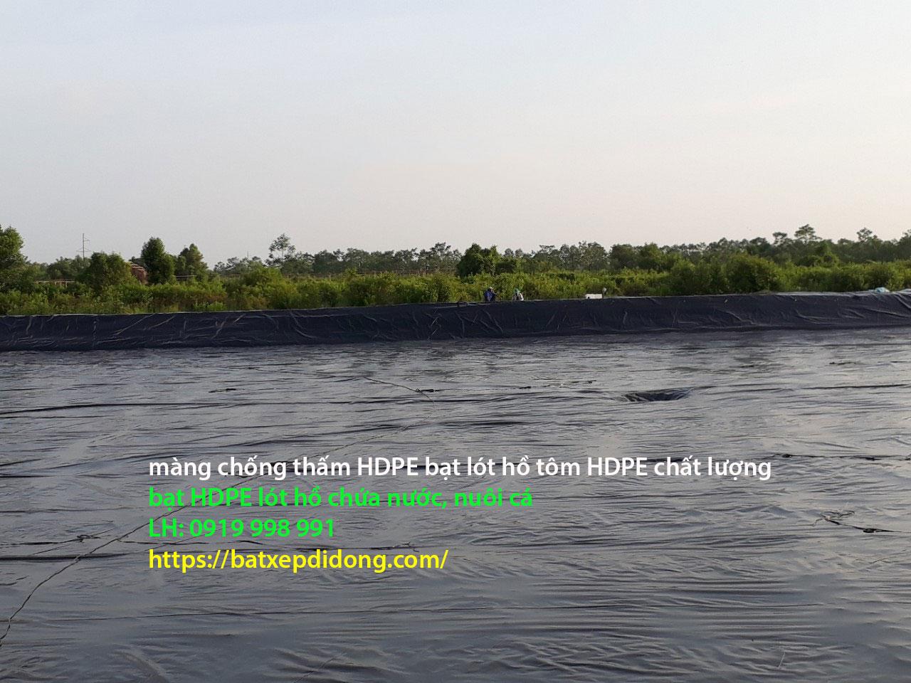 Bạt HDPE lót bờ ao chống thấm, bạt lót hồ chứa nước Bình Phước